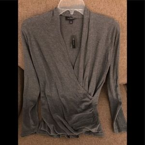 NWT The Limited Gray Crossover Blouse